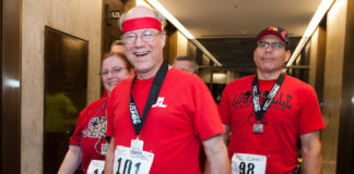 Steve Lindsey, a longtime UofL employee, will participate in the Fight for Air Climb Feb. 3 his third time participating since receiving a double-lung transplant.