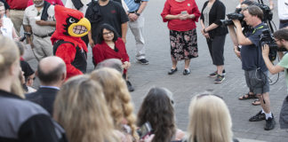 About 200 members of the UofL community gathered early Tuesday morning to greet President Bendapudi for her first official day on the job.